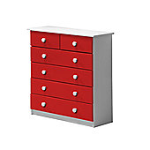 Verona Drawer Chest 4 + 2 Colour White and Red