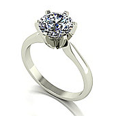18ct White Gold 8.0mm Moissanite Single Stone Ring.