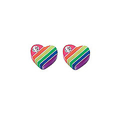 Striped Rainbow Heart Stud Earrings