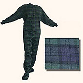 All in One Pajamas for Adults–Blue and Green Flannel (Extra Large)