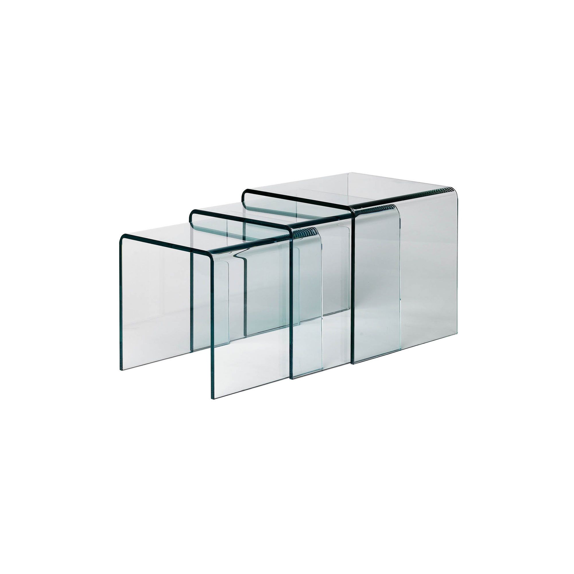 Premier Housewares 3 Piece Nest of Tables with Cascade Bent Clear Glass Top at Tesco Direct