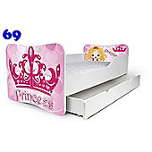 Toddler Bed With Drawer and Mattress - Princess (Large)