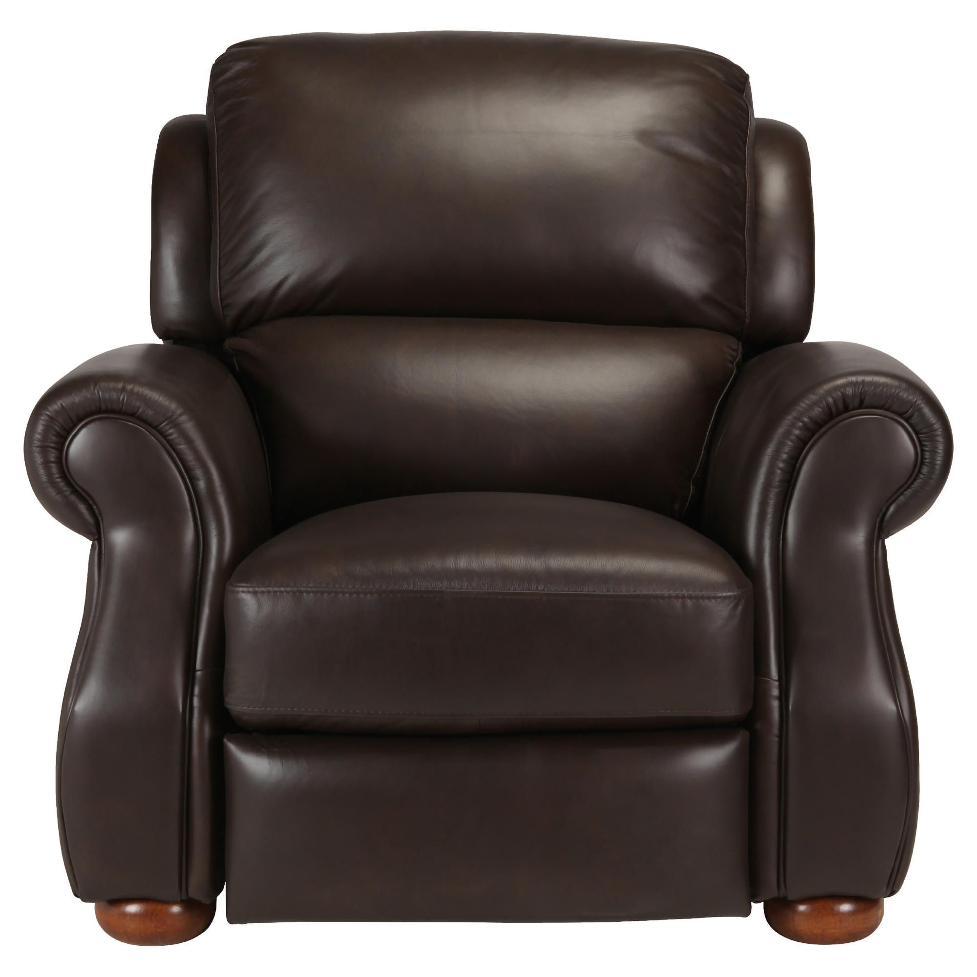 Paloma Leather Push Back Recliner Chocolate at Tesco Direct