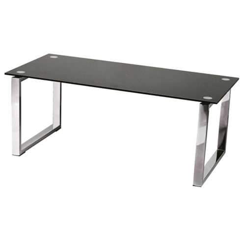 Premier Housewares Coffee Table with Black Tempered Glass Top and Chrome Legs