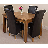 Cotswold Rustic Solid Oak Extending 132 - 198 cm Dining Table with 4 Black Montana Leather Chairs