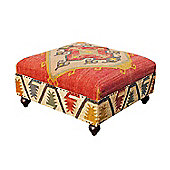 Homescapes Kilim Upholstered Red Solid Wood Pouffe