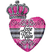 "Love Rules Valentines Balloon - 30"" Foil Supershape (each)"
