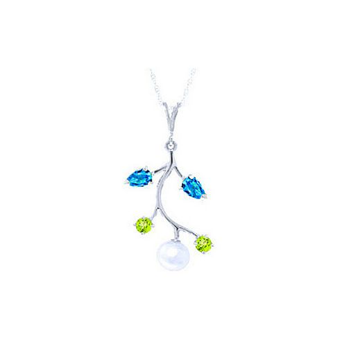 QP Jewellers 20in 0.68mm Vine Necklace with Blue Topaz, Peridot & Pearl Pendant in 14K White Gold