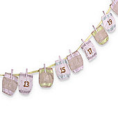 Christmas Advent Calendar Fabric Washing Line With Numbered Bags