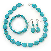 Turquoise Style Bead Necklce, Drop Earrings & Flex Bracelet - 40cm Length