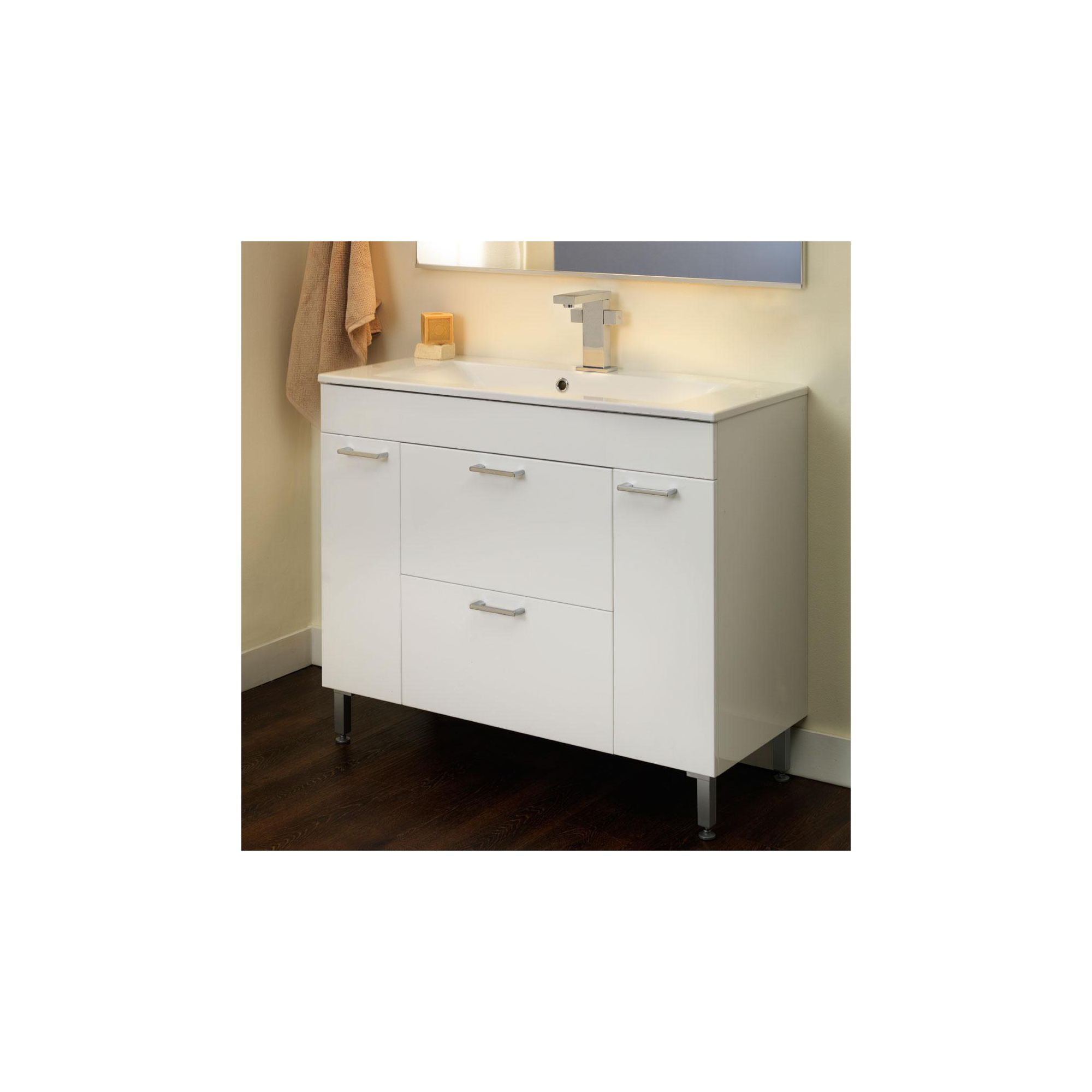 Duchy Trevail White Floor Standing 2 Door 2 Drawer Vanity Unit and Basin - 1000mm Wide x 425mm Deep