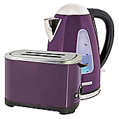 Home Essence Kettle and Toaster Set in Plum Steel