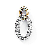 Jewelco London 9ct White & Yellow Gold - Diamond - Charm Pendant -
