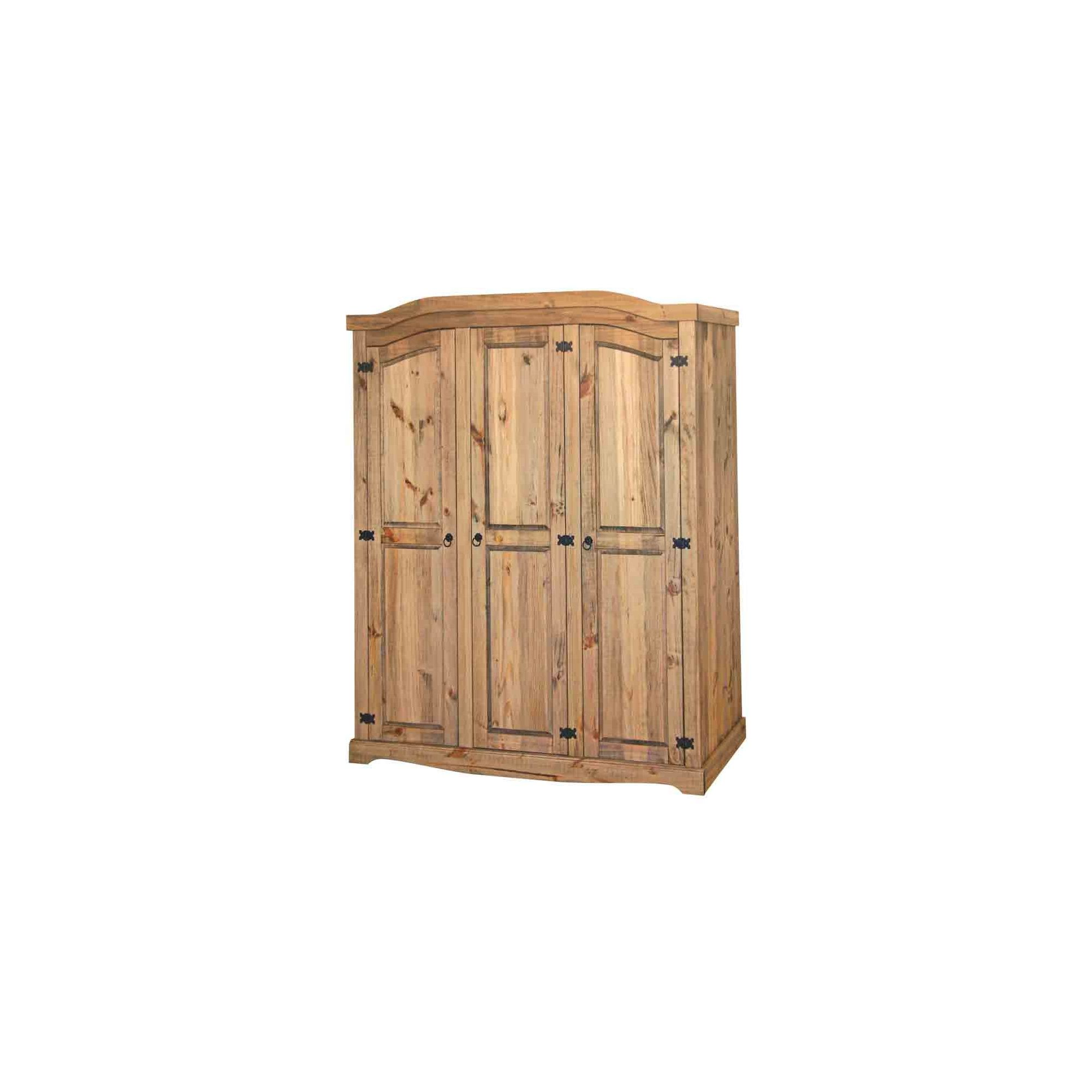 Home Essence Corona 3 Door Wardrobe in Solid Pine at Tesco Direct