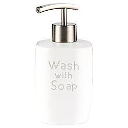 Embossed Grey Word Ceramic Soap Dispenser