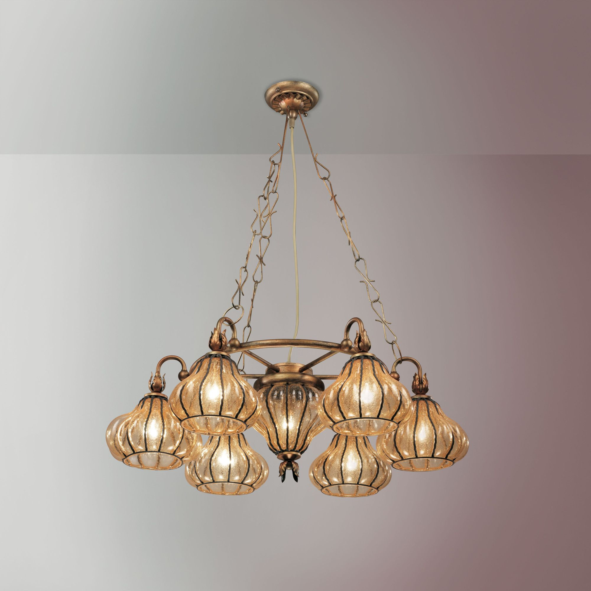 Siru Vecchia Murano Seven Light Pendant - Aged Amber at Tesco Direct