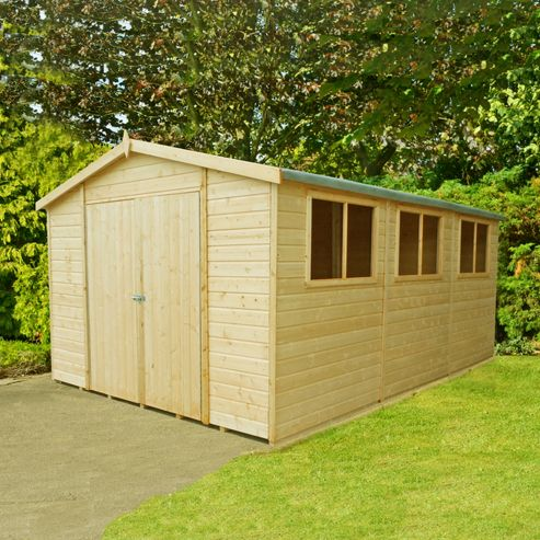 Buy finewood workspace apex wooden shed 15x10ft from our for Garden shed tesco