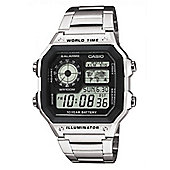 Casio Mens Stainless Steel Alarm Day & Date LED Light Watch AE-1200WHD-1AVEF