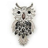 Oversized Rhodium Plated Filigree Dim Grey Crystal 'Owl' Brooch - 7.5cm Length