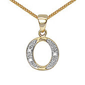 Jewelco London 9 Carat Yellow Gold Elegant Diamond-Set Pendant on an 18 inch Pendant Chain Necklace - Inital O