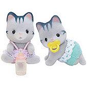 Grey Cat Twins Babies - Sylvanian Families Figures 5084