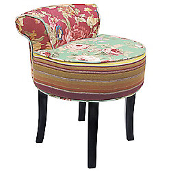 Shabby Chic Stool / Low Back Chair with Wood Legs - Multi-coloured