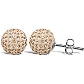 Jewelco London Sterling Silver Crystal Champagne Peach Shamballa Earrings - 10mm