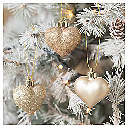 Mini Hearts Christmas Tree Decorations, 9 pack