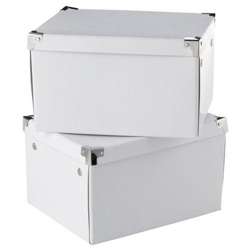 White Cardboard Storage Box 2pk Medium