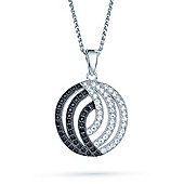 The REAL Effect Rhodium Plated Sterling Silver Black & White Cubic Zirconia Charm Pendant
