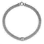 Jewelco London Rhodium Plated Silver Flat Stretchy Brick Mesh Style Charm Necklace