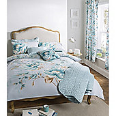 Catherine Lansfield Home designer collection Panel Print Duckegg Flora Super King Size Cotton Rich Quilt Set