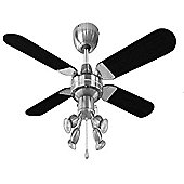 Scimitar 42 inch Ceiling Fan with Spot Lights in Brushed Chrome & Black