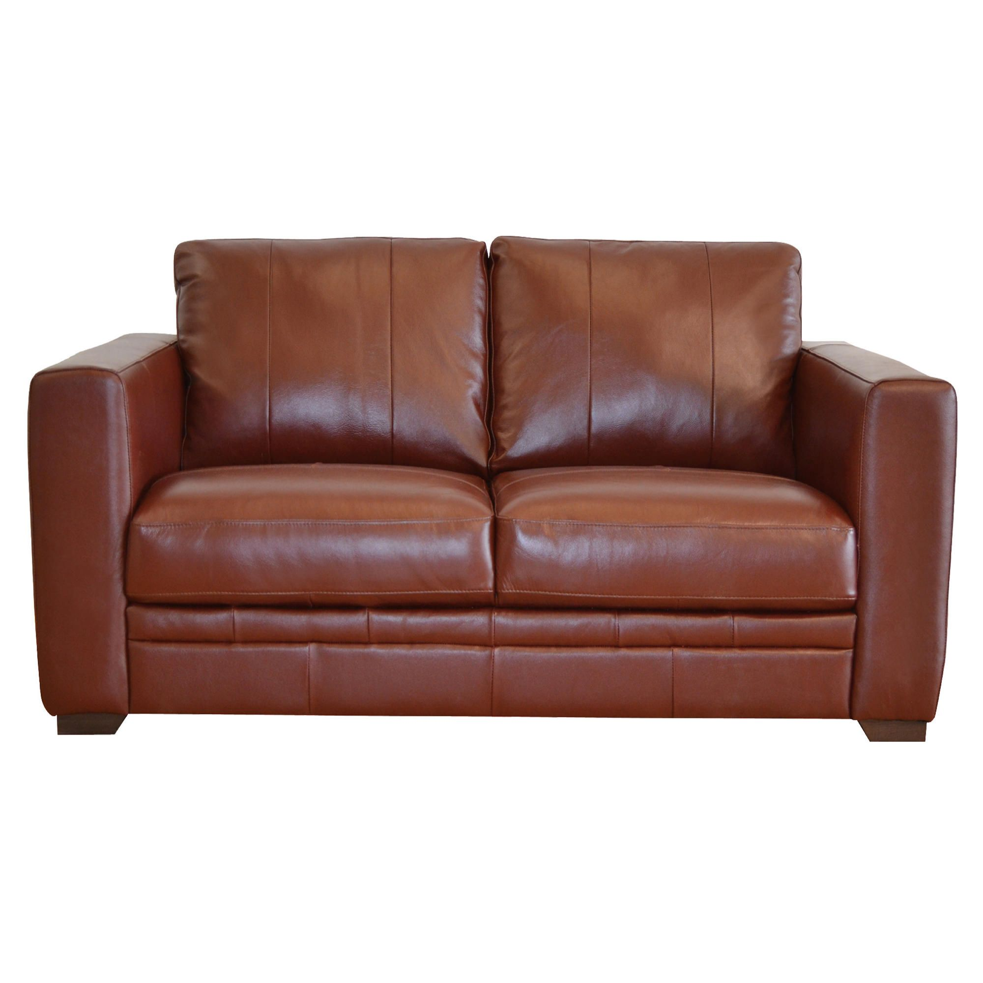 Naples Leather Small Sofa, Chestnut at Tesco Direct