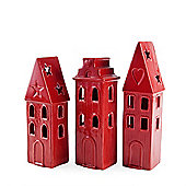 Red Ceramic Tower Block House Lantern Set