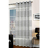 Bologna Chenille Detail Eyelet Voile Curtain Panel - Silver