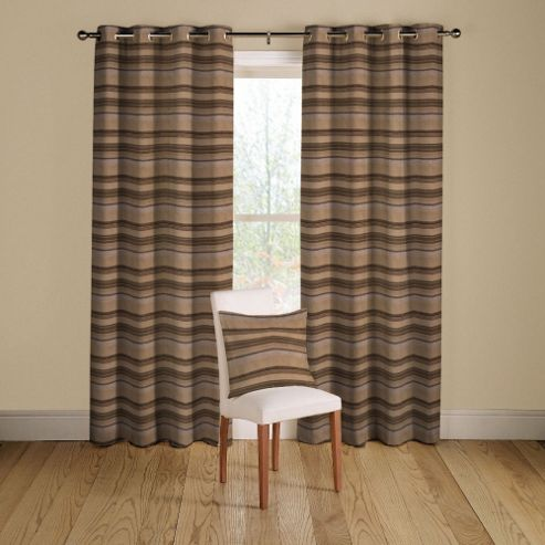 Loretta Lined Curtains with Eyelet Heading in Charcoal - 116cm Width x 137cm Drop