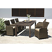 Regency 8pc Dining Set - Fixed Leg FSC Eucalyptus Table 220x100cm & Lazy Susan with 6 Carver Chairs