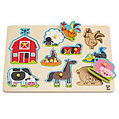 Hape Farm Animals Peg Puzzle