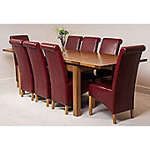 Farmhouse Rustic Solid Oak 200 cm Butterfly Extending Dining Table with 8 Montana Leather Chairs (Burgundy)