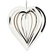 Large Stainless Steel Heart Shaped Hanging Garden Windspinner