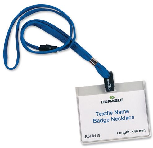 Durable Necklace Textile with Safety Closure for Name Badges 440mm Blue Ref 811907 [Pack 10]