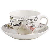 Tesco Vintage Postcard Fine China Cup & Saucer