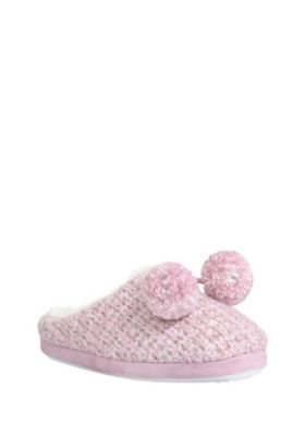 buy f f sparkle knit pom pom mule slippers from our gifts. Black Bedroom Furniture Sets. Home Design Ideas