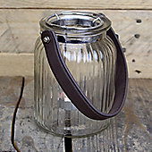 Glass Tealight Holder With Leather Handle (15cm)