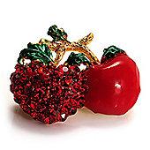 Tiny Diamante Cherry Pin (Gold Tone)