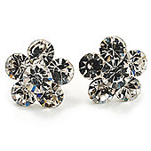 Small Clear Diamante Flower Stud Earrigns (Silver Tone) -2cm Diameter