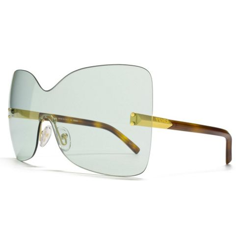 Fendi Sunglasses Butterfly Visor in Aqua Lens with a Gold and Havana Temple Arm