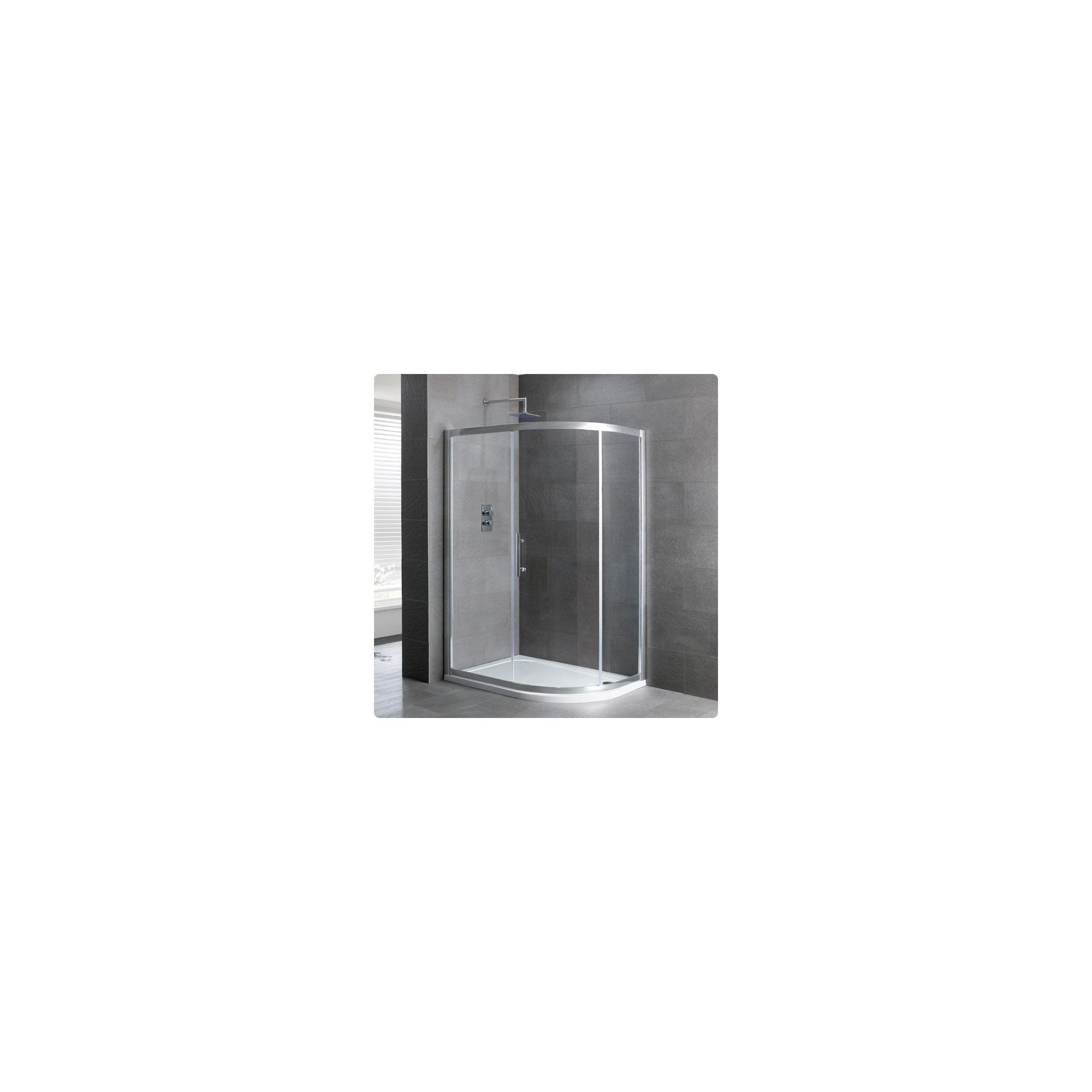 Duchy Select Silver 1 Door Offset Quadrant Shower Enclosure 900mm x 760mm, Standard Tray, 6mm Glass at Tesco Direct