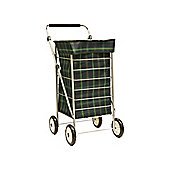 Sabichi 4-Wheel Shopping Trolley, Green Tartan